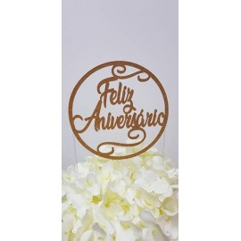 Topo de bolo dourado brilhante Feliz Aniversário
