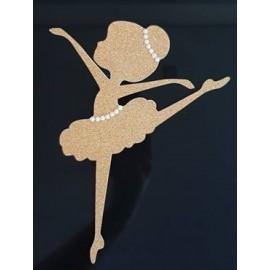 Topo de bolo dourado brilhante Silhueta bailarina