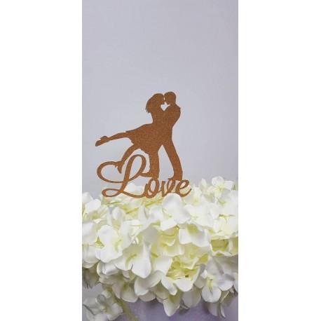 Topo de bolo dourado brilhante Silhueta casal + Love