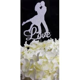 Topo de bolo prata brilhante Silhueta casal + Love