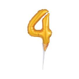 Topo de bolo - centro de mesa - balão número 4 dourado 15 cms