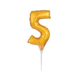 Topo de bolo - centro de mesa - balão número 5 dourado 15 cms