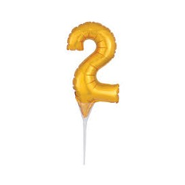 Topo de bolo - centro de mesa - balão número 2 dourado 15 cms