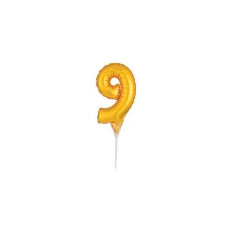 Topo de bolo - centro de mesa - balão número 9 dourado 15 cms