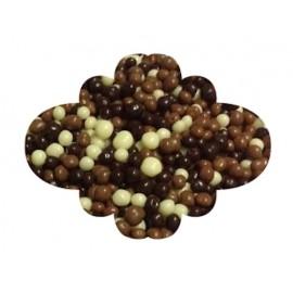 Chococrispies três chocolates - negro-branco-leite (bolinhas crocantes) 100 gr.