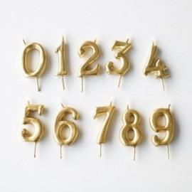 Vela dourada nº 6 com 6 cms
