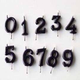 Vela negra nº 8 com 6 cms