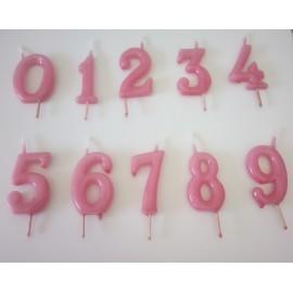 Vela rosa nº 3 com 6 cms