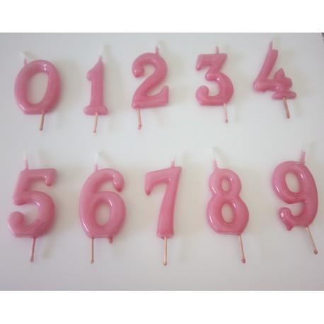 Vela rosa nº 9 com 6 cms