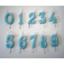 Vela azul nº 7 com 6 cms