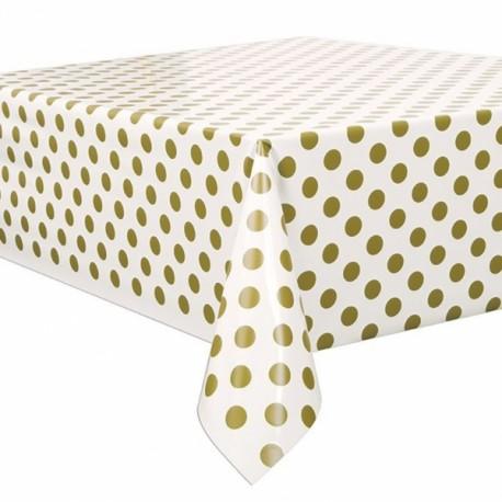 Toalha de mesa branca com bolinhas ouro com 1,37x2,74 mt Unique