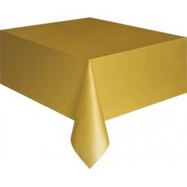 Toalha de mesa dourada plástica com 1,37x2,74 mt Unique