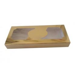 Pack 50 unid. Caixa dourada com janela 18,5x9x2,5 cm