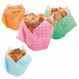 Forma papel tulipa muffins (grande) - 25 unid. várias cores