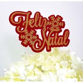 Topo de bolo dourado - vermelho Feliz Natal com floco