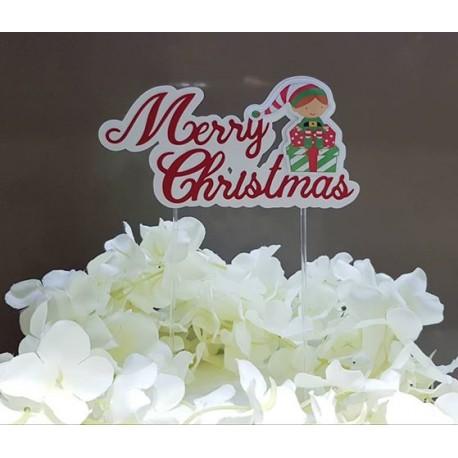 Topo de bolo Merry Christmas com duende e presentes