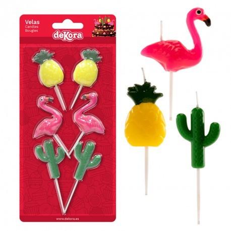 Conjunto vela com flamingo-ananás-cato dekora