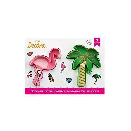 Cortante flamingo + palmeira decora bolachas