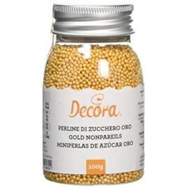Pérolas mini cor ouro Decora 100 gr.
