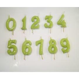 Vela verde pistacho nº 1 com 6 cms