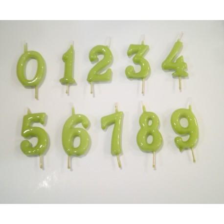 Vela verde pistacho nº7 com 6 cms