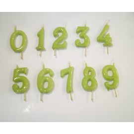 Vela verde pistacho nº 8 com 6 cms