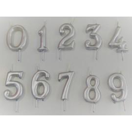Vela prata nº 7 com 6 cms