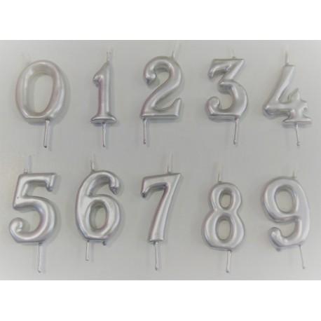 Vela prata nº 8 com 6 cms