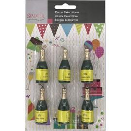 Conj. 6 velas garrafas de champanhe stadter