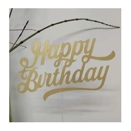 Topo de bolo dourado brilhante Happybirthday