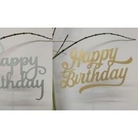 Topo de bolo prata brilhante Happybirthday