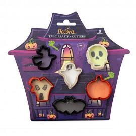 Conj. 6 cortantes abóbora, caveira,bruxa,morcego,fantasma- bolachas - dia das bruxas - decora