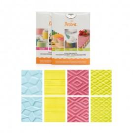 Kit 4 Stencil-Marcador-Tela de Impressão Decora pasta açúcar - chocolate