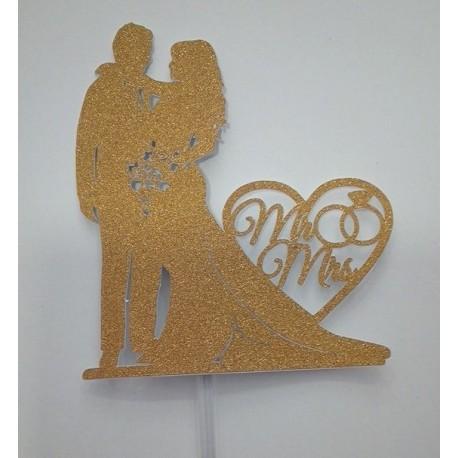 Topo de bolo silhueta noivos Mr-Mrs dourado com purpurina