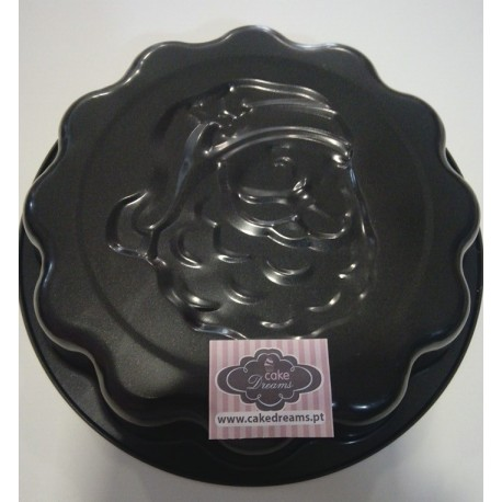 Forma bolo 25 cms com cara pai natal em relevo