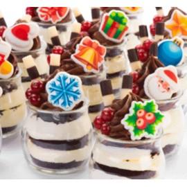 Decoração Natal em chocolate, pai natal, bola, estrela, sino, floco, boneco neve