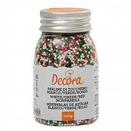 Pérolas mini cor vermelho-branco-verde Decora 100 gr.