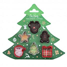 Conj. mini Cortantes Natal-estrela, pai natal, rena, gengibre, prenda,presente decora bolachas Natal