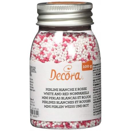 Pérolas mini cor branco e rosa Decora 100 gr.