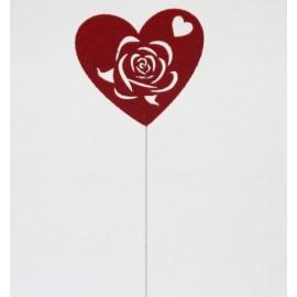 Coração com rosa recortada - pack 6 unid.