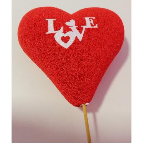 Coração Love com 16 cms e pico