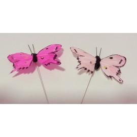Borboleta rosa (não comestivel) - unid. - 7,5 cms pack 12 unid