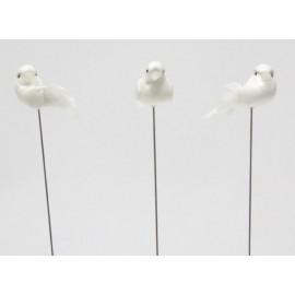Pomba mini 3 cms branca com espeto - unidade