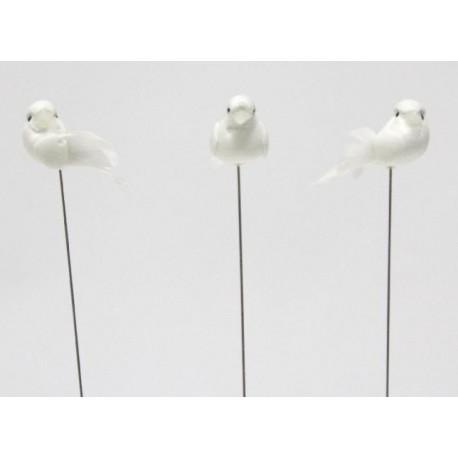 Pomba mini 3 cms branca com espeto - pack 24 unid.