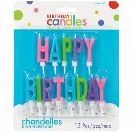 Conj. 13 unid. velas Happy birthday coloridas amscan