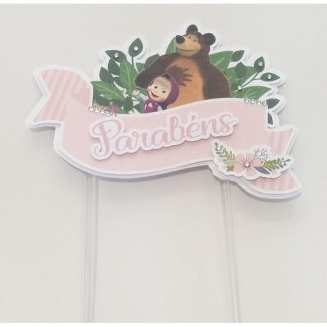Topo de bolo Masha e o urso