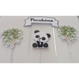 Topo de bolo Parabéns Panda 4 peças