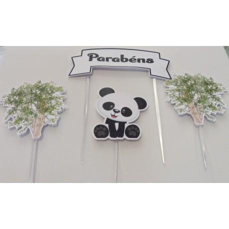 Topo de bolo Parabéns Panda e os animais