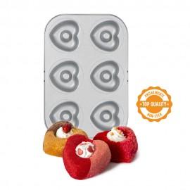 Tabuleiro - antiaderente com 6 cavidades formato coração decora donuts