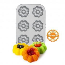 Tabuleiro - antiaderente com 6 cavidades formato flor decora donuts